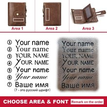 Free Engraving Name Genuine Leather Wallet Men PORTFOLIO Gift Male Cudan Portomonee Perse Coin Purse