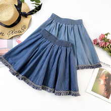 Wasteheart Spring New Blue Women Skirts High Waist A-Line Mini All-match Clothing Casual Tassel
