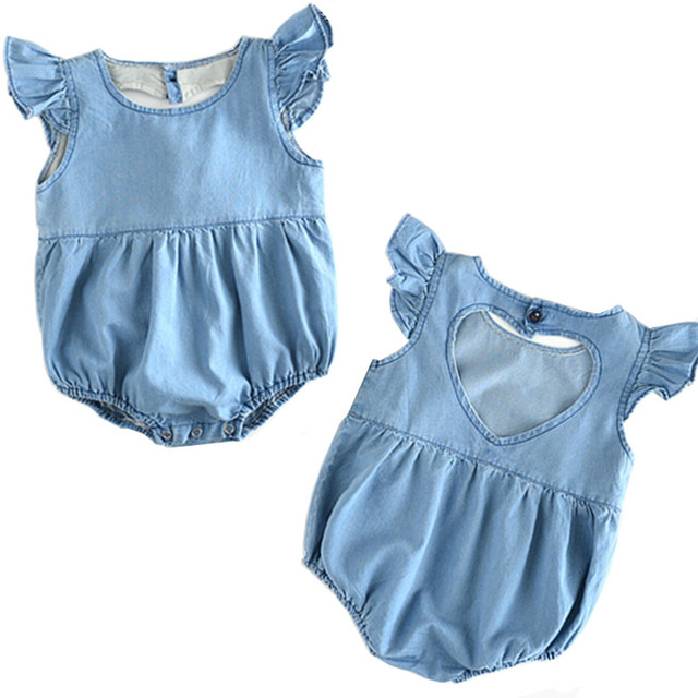 cfed533f086 2018 Cute Newborn Baby Girl Romper Summer Sleeveless Baby Romper Jumpsuit  Vintage Love Pattern Hollow Denim Romper Baby Clothes