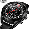 2018 Mens Watches LIGE Top Brand Luxury Business Quartz Watch Men Leather Strap Casual Waterproof Sport