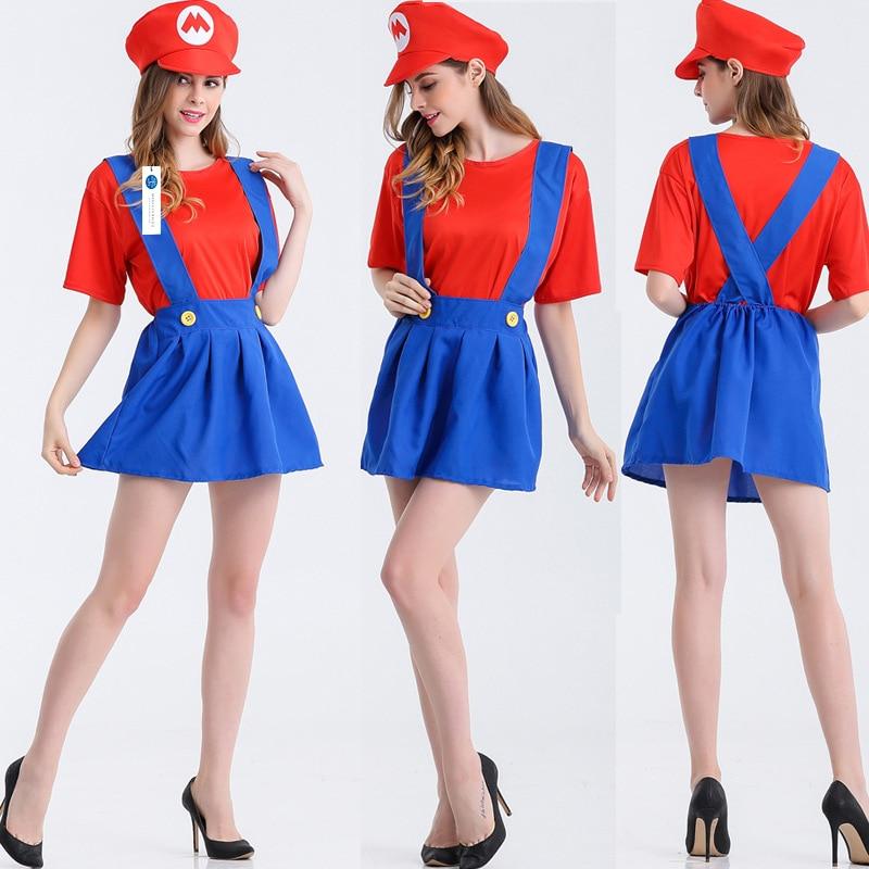 ManLuYunXiao Super Mario Cosplay Costume Women Halloween Party Mario Uniforms Red T-shirt Women Dress Adult Free Shipping