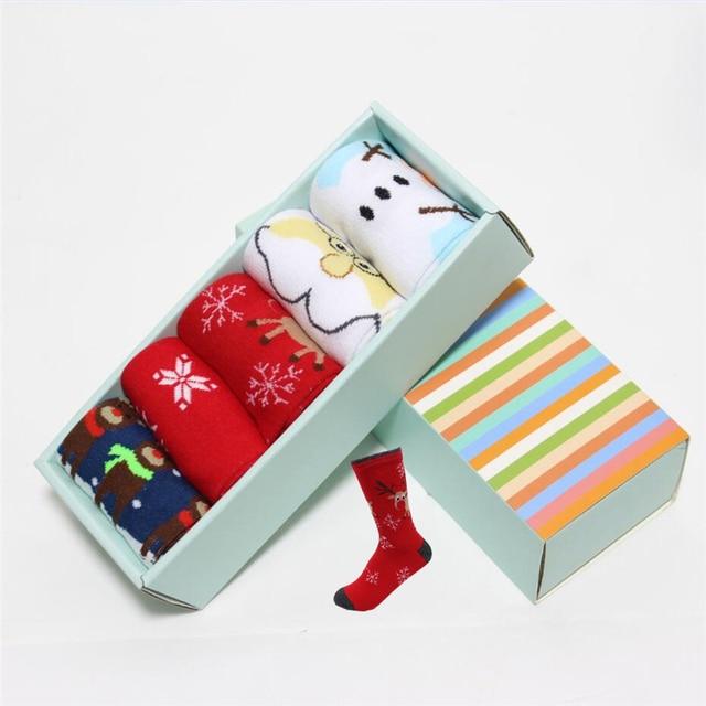 Hot sale! women cartoon socks gift box 5 pairs/lot autumn-winter fashion christmas socks ladies and women's funny cotton sock