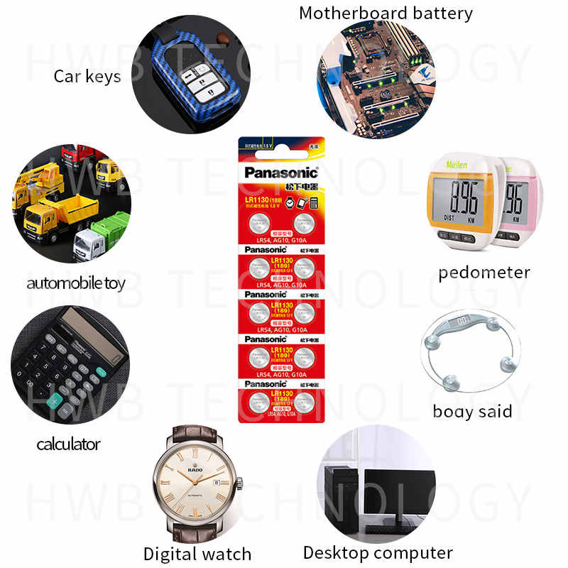 2 Pcs 100% Asli Grosir Panasonic LR54 189 AG10 L1131 SR1130 G10 V10GA 389 Alkaline Tombol Sel Baterai Koin Gratis pengiriman