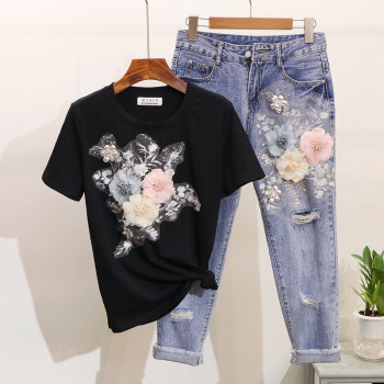 ALPHALMODA 3D Flower Applique Fashion Tshirt Slim Denim Pants Women Heavy-work Fine Quality Clothing for Summer Trendy Apparel 1