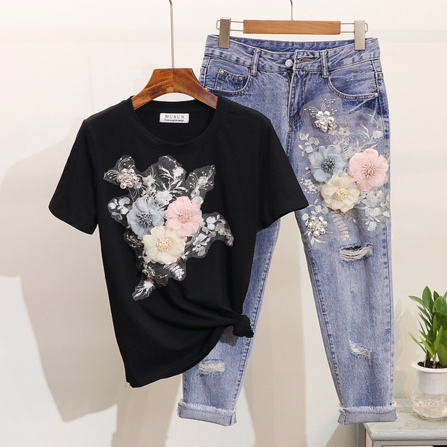ALPHALMODA 3D Flower Applique Fashion Tshirt Slim Denim Pants Women Heavy-work Fine Quality Clothing for Summer Trendy Apparel 1