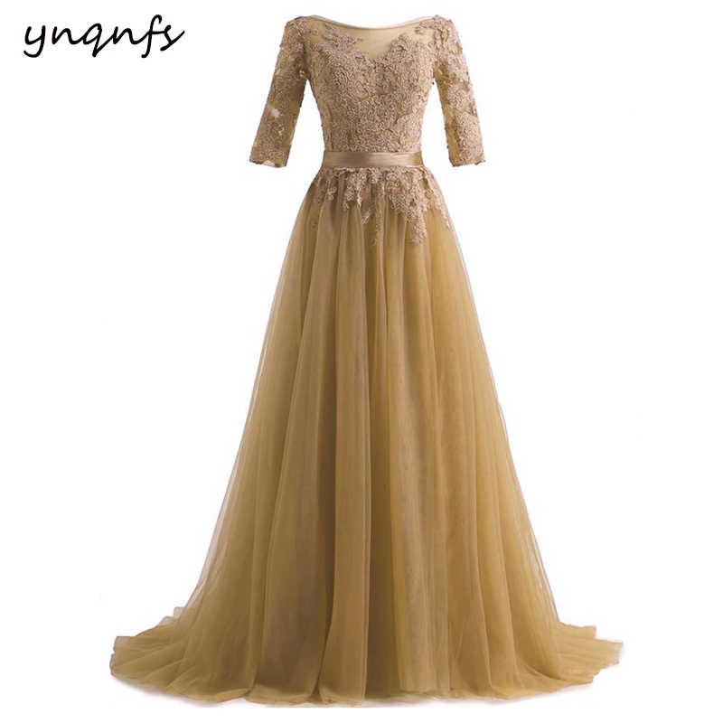 5a46187468 YNQNFS Gold Mother of the Bride Dresses with Sleeves Lace Appliques ...