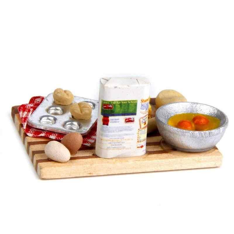 1:12 мини Еда Набор посуды кукольный домик Миниатюрный молочный хлеб с яйцом модель ролевые игры кухонные игрушки для детей Подарки для девочек
