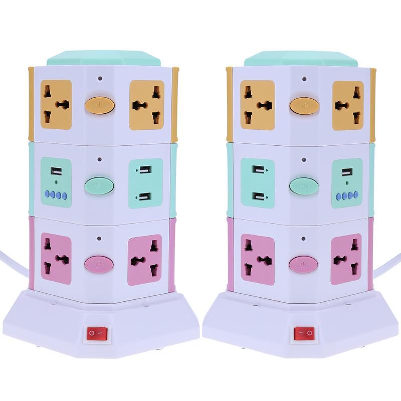 цена на 3 Layer Smart Electrical Plug with 4pcs LED Lights Vertical Power Socket Outlet+2 USB Ports 100-250V 10A 2500W EU UK plug