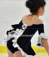 Kids Figure Skating Dress Black Girls Figure Skating Dress Children Figure Skating Dresses Custom Free Shipping F34