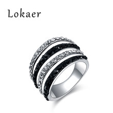 Lokaer White Gold Color Trendy Rings Black And White Austrian Crystal Pave Setting Ring Jewelry For Party Women R150230233P(China)