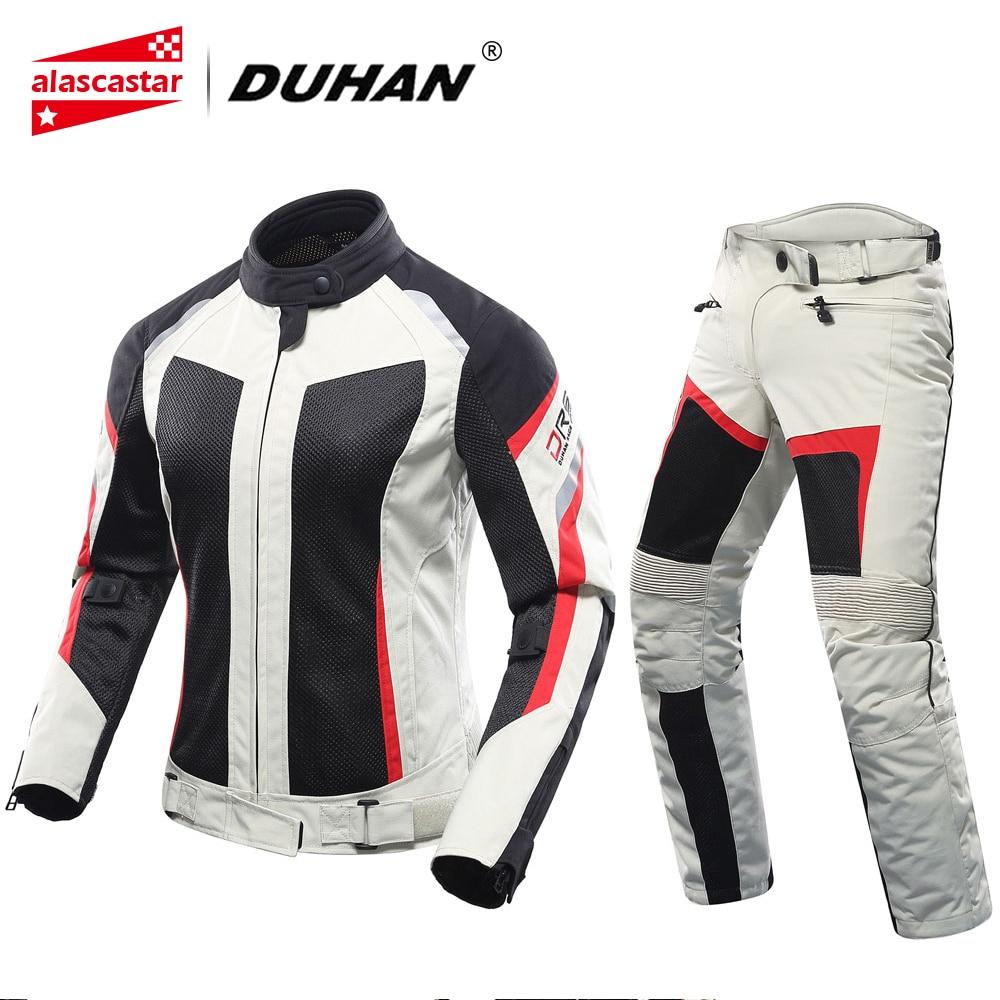 DUHAN Motorcycle Jacket Motorcycle Pants Set Women Breathable Mesh Motorbike Chaqueta Moto Motoqueiro Riding Jackets Motorcycle