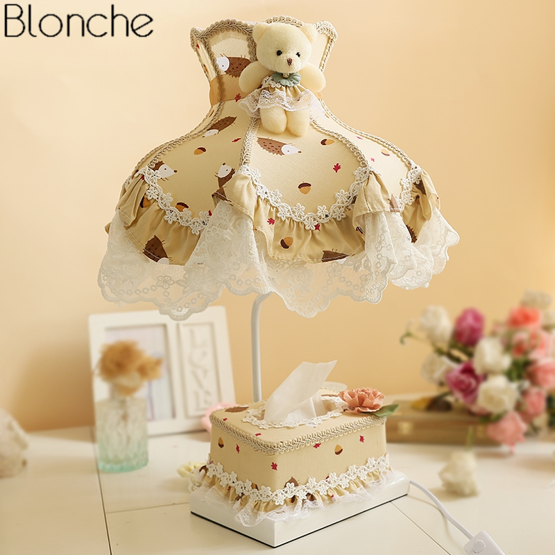 Modern Lace Fabric Table Lamp Bedroom Bedside Lamp with Box Tissue Boxes Princess Children Room Desk Lights Study Home Decor E27 modern wood table floor lamp living room bedroom study standing lamps fabric decor home lights wooden floor standing lights