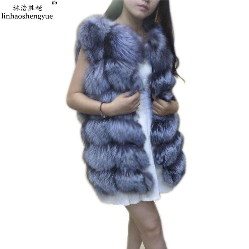Linhaoshengyue 72 CM UZUN Gümüş tilki ceket kırmızı tilki kürk - Bayan Giyimi - Fotoğraf 5