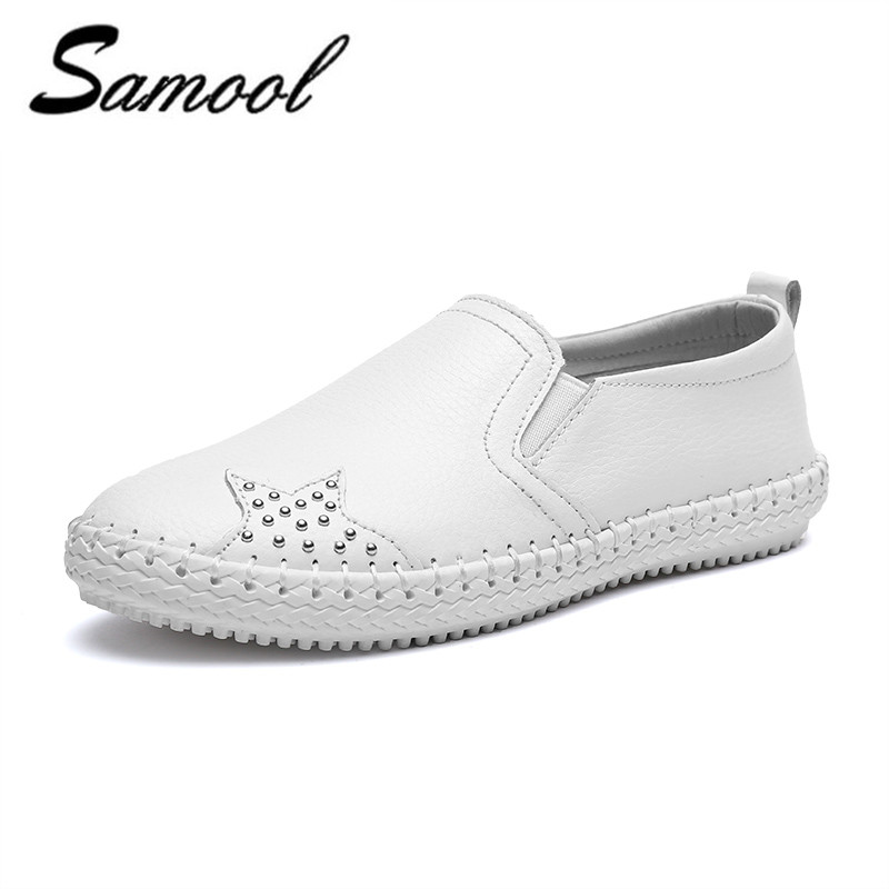 Brand Spring Autumn Women Leather Loafers Causal Fashion ballet flats black white Woman Slip On loafers boat shoes Moccasins jx5