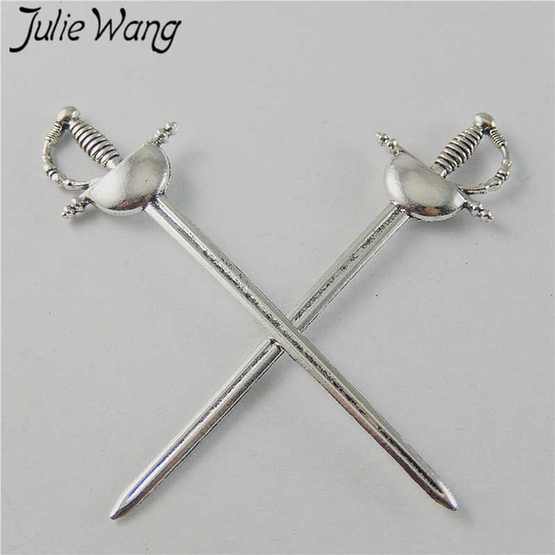 50743 Antique Silver Alloy Knight Sword Shape Pendant Charms Jewelry Craft 10pcs