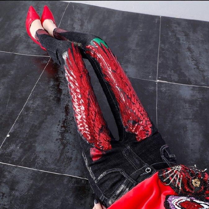Женские корейские джинсы, с красными крыльями, расшитые блестками, на весну и осень