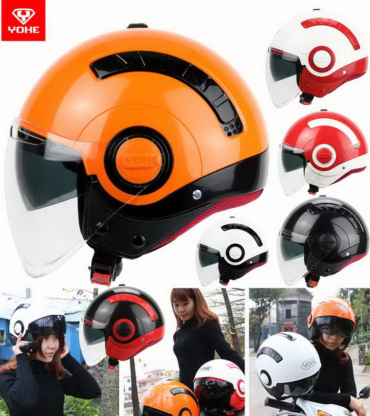 2016 New Summer YOHE double lenses ABS half face motorcycle helmet young men and women fashion MINI Electric bicycle helmets все цены