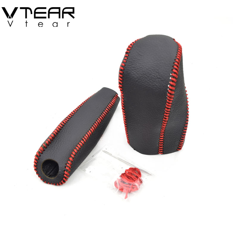 Vtear For Ford Fiesta Gear Shift Collars Handbrake Grips gear lever cover Interior leather car-Styling Hand-stitched accessories gear shift