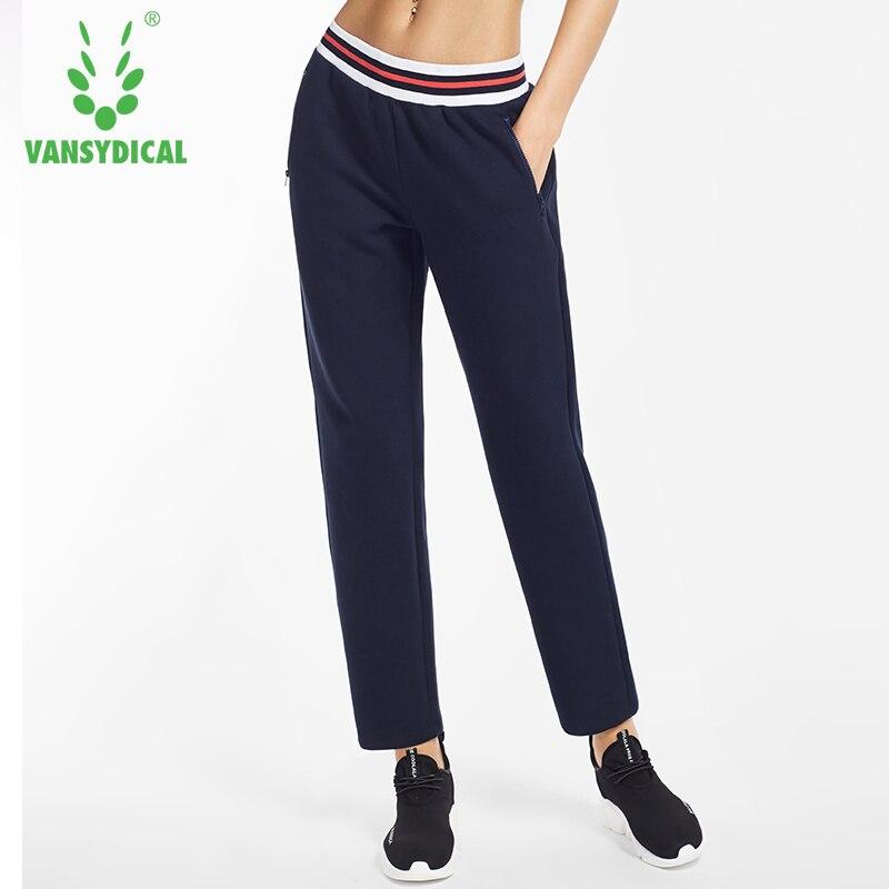 Vansydical Sport Laufhose Frauen Reißverschlusstasche Atmungsaktive Outdoor Training Jogging Lange Hosen Weiblichen Jogginghose