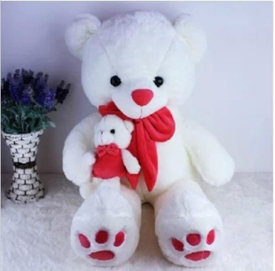 Free shipping 90cm teddy bear plush toy the mother come with kid bear plush toy