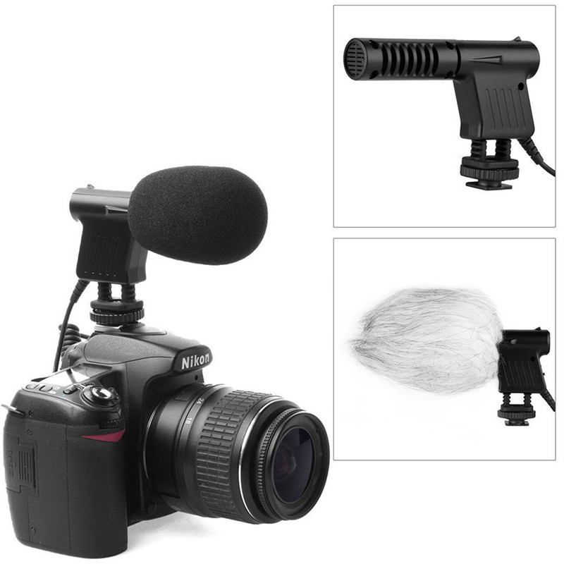Mini Stereo Microphone 3.5mm No Noise Mic For Photography Interview for Nikon Canon DSLR Camera DV Camcorder