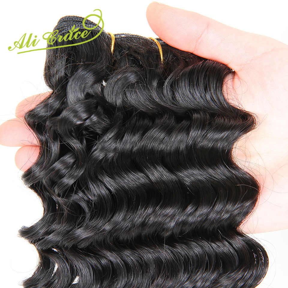 Ali Grace Hair Remy человеческие волосы пучки с закрытием 3 пучка малазийские глубокие вьющиеся волосы с кружевом Закрытие бесплатно и средний