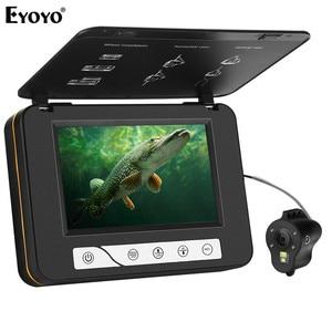 "Image 1 - Eyoyo EF15R Original 15M 1000TVL Underwater Ice Fishing Camera 5"" LCD Monitor 4pcs Infrared+2pcs White Leds Fishfinder Camera"