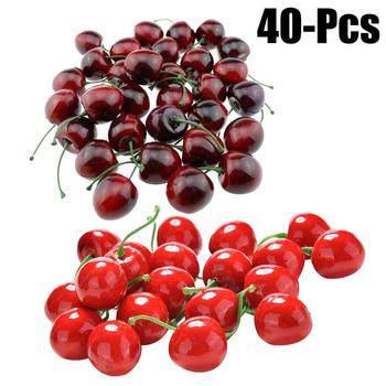 40PCS Artificial Fruits Lifelike Realistic Cherry Fake Fruits Decorative Fruits For Party Kitchen фото