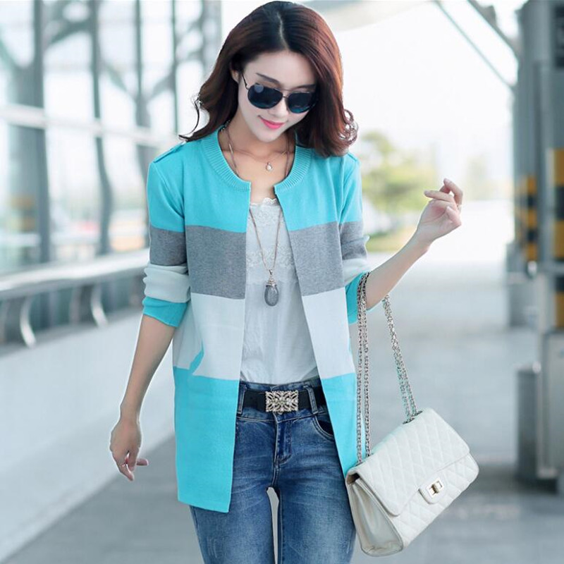 In spring 2017 high quality new dress long stripe long sleeve knit cardigan coat loose off big yards by female cardigan