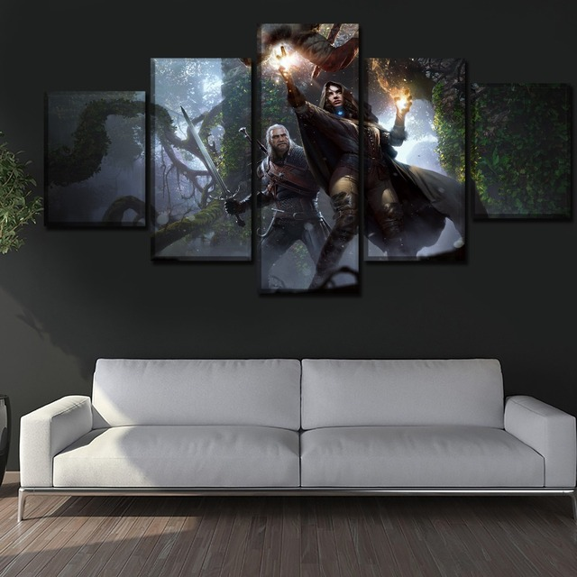 Modern HD Printed Framework Canvas Picture 5 Piece Game The Witcher 3 Wild Hunt Yennefer Geralt Painting Home Decor Living Room 2