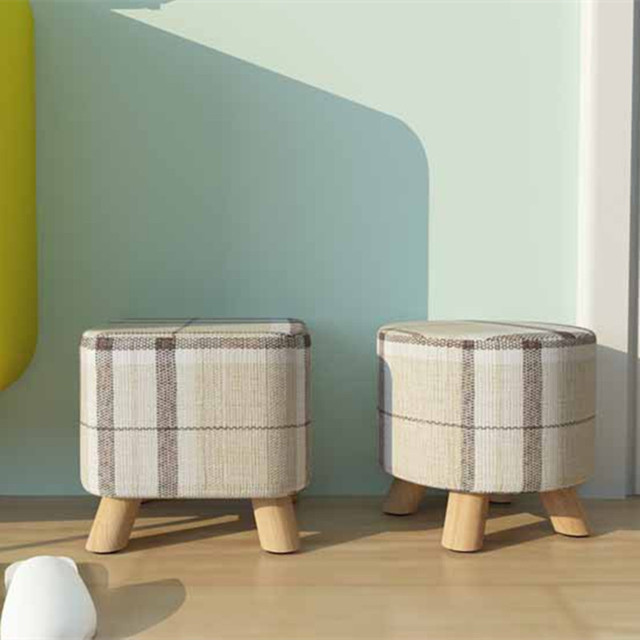 Small Wooden Foot Stools Modern Furniture Round Fabric Sofa Stool Footstool  Detachable Fabric Changing Shoes Stool