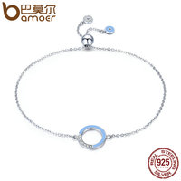 BAMOER Genuine 100 925 Sterling Silver Fashion Round Circle Light Blue Enamel Chain Link Bracelet Women
