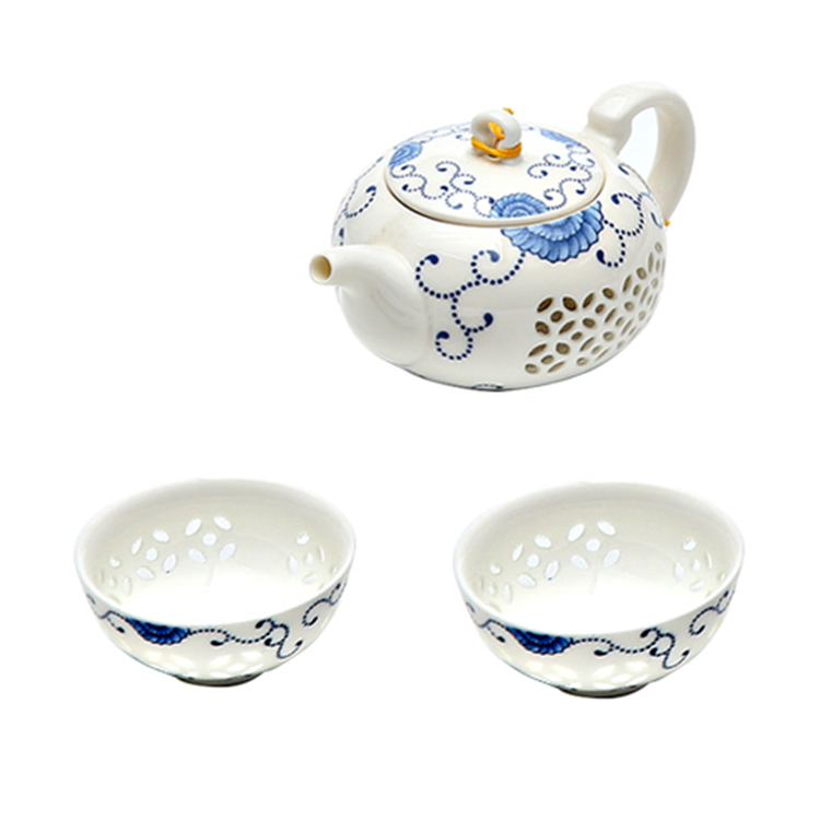 Tangpin azul e branco requintado cerâmica bule