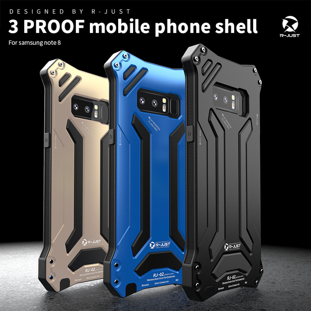pretty nice 2c35f 9024d US $19.79 34% OFF|R JUST Life Waterproof Aluminum Case For Samsung Note 8  Shock Dropproof Metal Silicone Cover For Samsung galaxy note 8 Newest -in  ...
