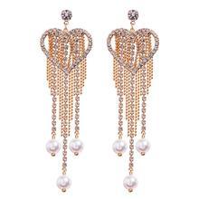 Rhinestone statement earrings for women Big heart crystal fringe Drop Earrings Luxury Dangling Tassel earings fashion jewelry