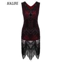 HALIFE Women 1920s Gatsby Dress Beading V Neck Vintage Tassel Stripe Sequin Draped Flapper Dress Summer