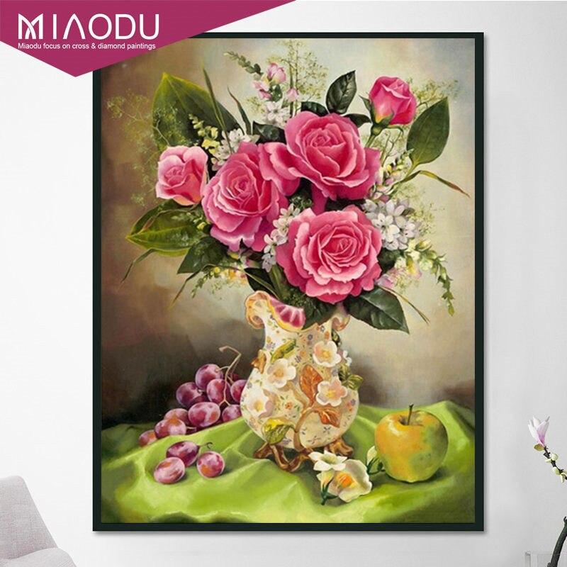 Miaodu 5D DIY Diamond Painting Flowers Rhinestones Full Square Diamond Embroidery Vase Cross Stitch Mosaic Home Decor Colorful 1