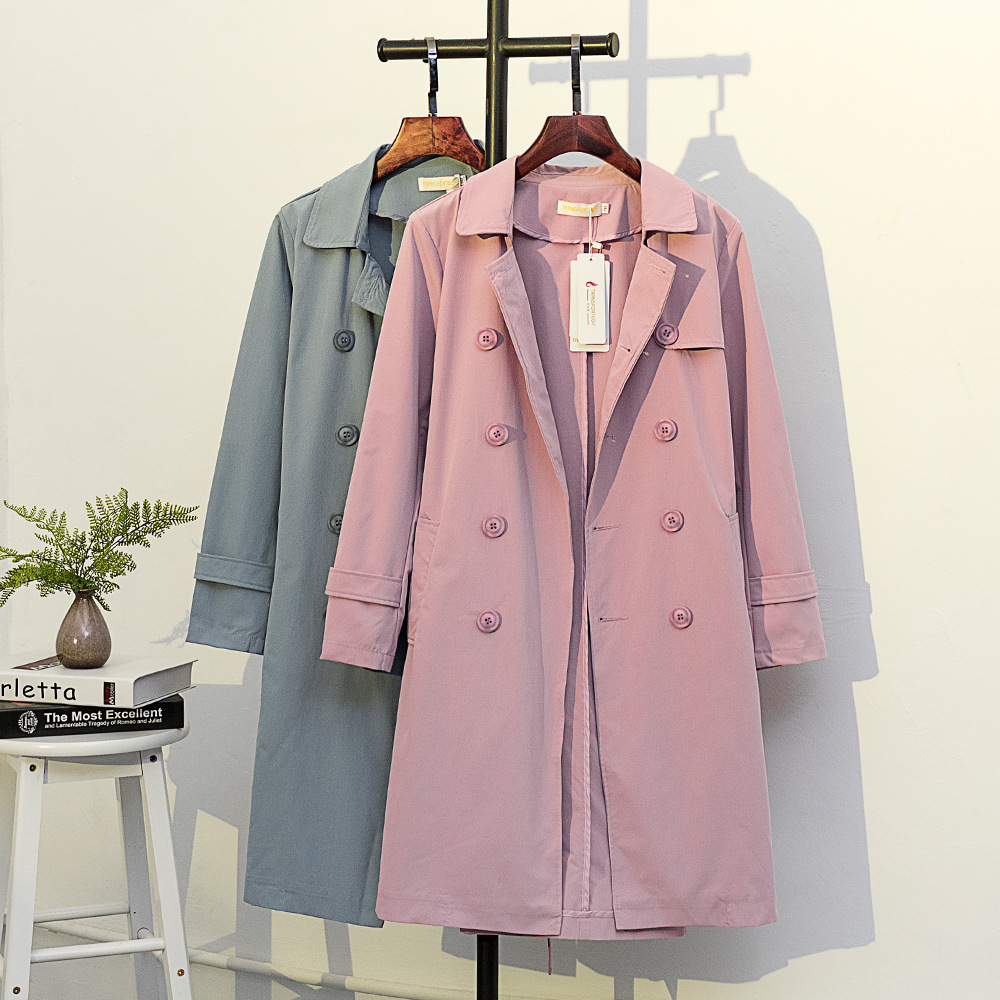 Women's Midi-Length Plus Size   Trench   Coat windbreaker Double breasted Classic Female overcoats