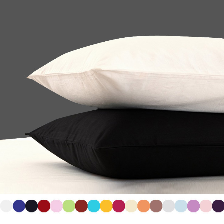 2 Piece Cotton 600TC Hotel Pillowcase 19 Solid Color Pillow Case Bedding 70x70cm 50x70 Pillow Cover Customize Any Size