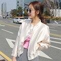 2016 de Corea mujeres de la chaqueta de bombardero de la marca collar del soporte del diseño blanco como la leche de protección solar chaquetas casual chaqueta del béisbol de las señoras