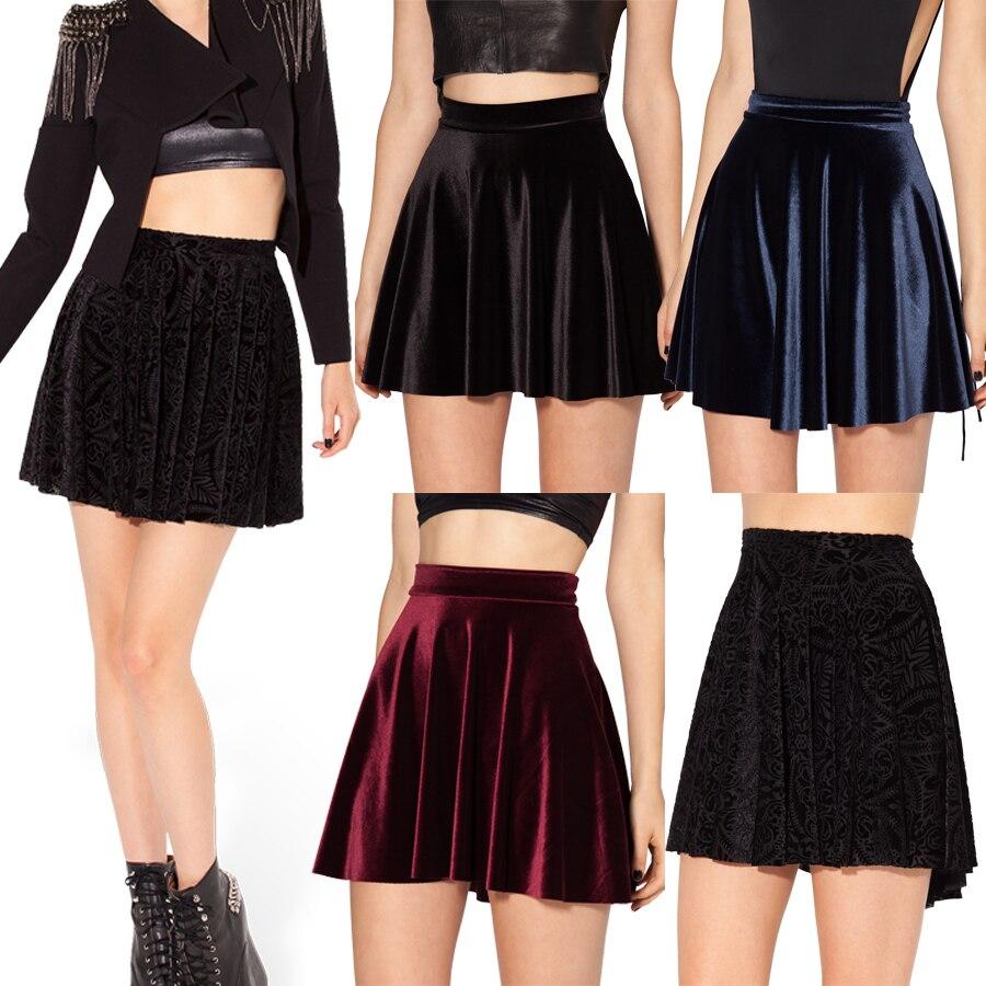 24ba435e9 2014 New Autumn Winter Women Skater Skirt Black Velvet Skirts Plus Size XL  XXL Skater Skirt Short Skirts Womens