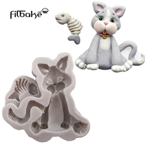 FILBAKE One Piece Of  Animals Silicone Mold Cat Shape Fondant Cake Mould DIY Bake Decorating Tools Kitchen Accessories