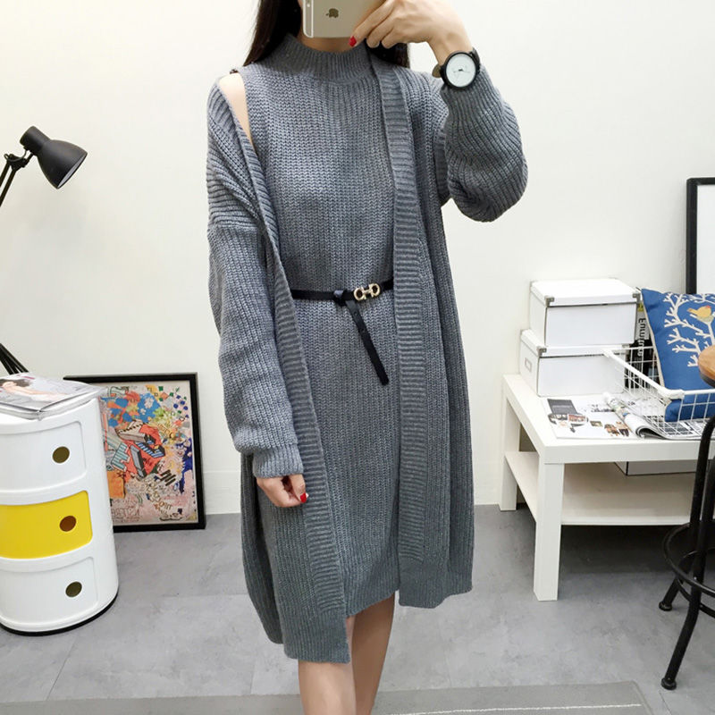 2018 Autumn Winter Knitting Long Pullover Sweater Cardigan Women Two Piece Suit 4 Color Poncho Two Piece Sweater Women Plus Size