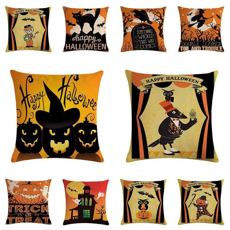 Halloween Series Linen Pillowcase Decorative Pillows For Sofa Seat Cushion Cover Festival Pillow Case Office Home decor