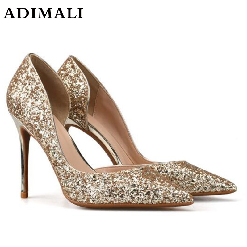 2018 Women Shoes Sexy Sequined Cloth Women's Wedding Sexy Princess Pearl Diamond crystal shoes Silver