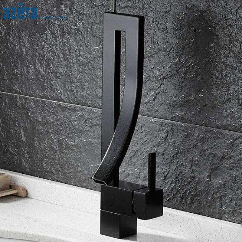 Azeta robinets de cuisine de Style moderne en laiton noir poignée unique pont monté eau froide et chaude robinet de cuisine Torneira MK9934B