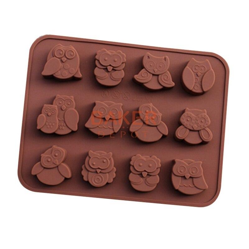 ᗔDIY herramientas silicona chocolate molde con 12 agujeros búho FDA ...