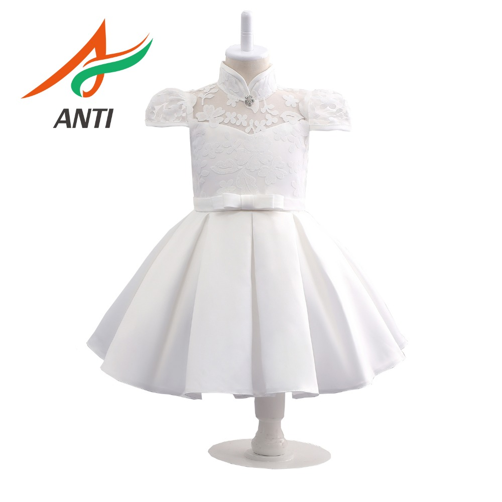 ANTI White Puffy   Flower     Girl     Dresses   First Communion   Dresses   for   Girls   Beaded Applique Kids Gowns Hot Sale Vestido In Stock