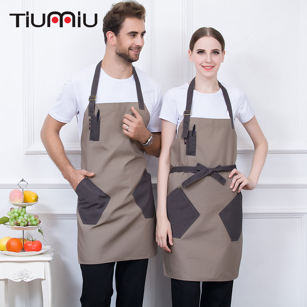 Patchwork Aprons For Women Men 4 Colors High Quality Unisex Kitchen Hotel Coffee Shop Bakery Chef Waiter Cleaning Workwear Apron