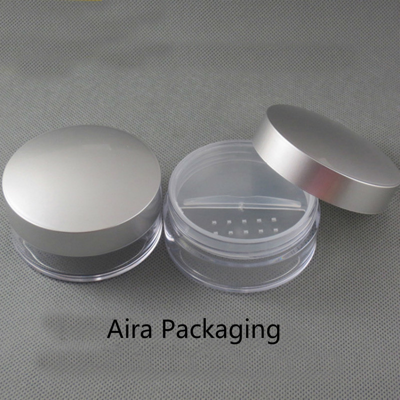 50ML 30pcs lot Empty Plastic Loose Powder Jar with Rotating Sifter Cosmetic Powder Refillable Case Professional